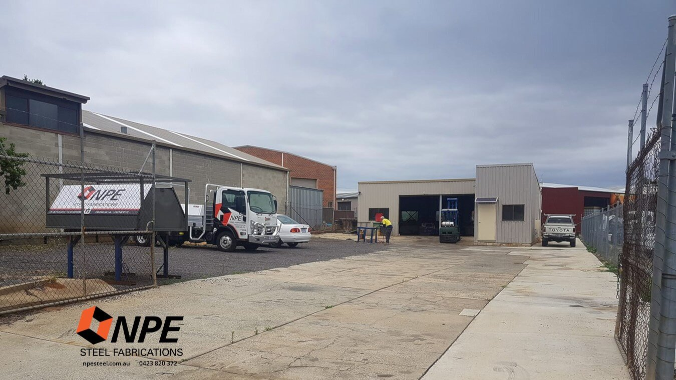 Outside the NPE Steel Fabrications warehouse / factory.