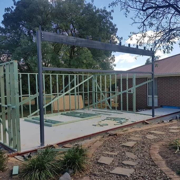 Structural steel foundations for a home in Queanbeyan.